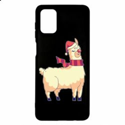Чехол для Samsung M51 Yellow llama in a scarf and red nose