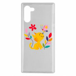 Чехол для Samsung Note 10 Cat, Flowers and Butterfly