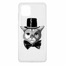 Чехол для Samsung Note 10 Lite Black and white cat intellectual