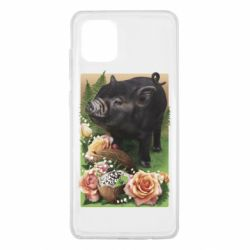 Чехол для Samsung Note 10 Lite Black pig and flowers