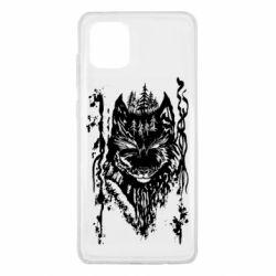 Чехол для Samsung Note 10 Lite Black wolf with patterns
