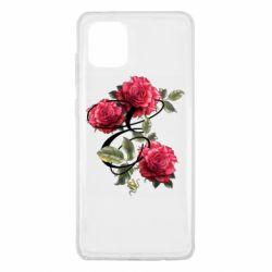 Чехол для Samsung Note 10 Lite Буква Е с розами