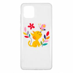 Чехол для Samsung Note 10 Lite Cat, Flowers and Butterfly