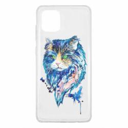 Чехол для Samsung Note 10 Lite Cat in blue shades of watercolor