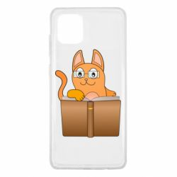 Чехол для Samsung Note 10 Lite Cat in glasses with a book