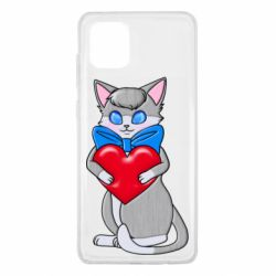 Чехол для Samsung Note 10 Lite Cute kitten with a heart in its paws