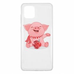 Чохол для Samsung Note 10 Lite Funny pig with a Christmas toy