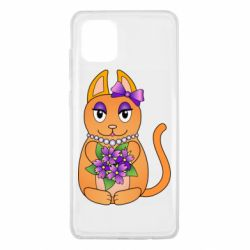 Чехол для Samsung Note 10 Lite Girl cat with flowers