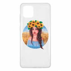 Чехол для Samsung Note 10 Lite Girl in a wreath of sunflowers