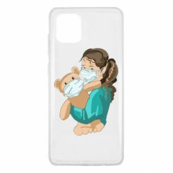 Чехол для Samsung Note 10 Lite Girl with a teddy bear in medical masks