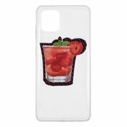 Чехол для Samsung Note 10 Lite Strawberry cocktail on a background of flowers