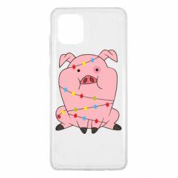 Чохол для Samsung Note 10 Lite Свиня обмотана гірляндою