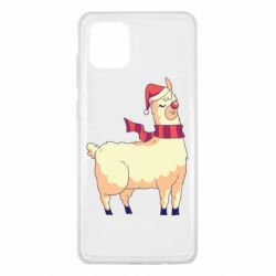Чехол для Samsung Note 10 Lite Yellow llama in a scarf and red nose