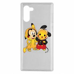 Чехол для Samsung Note 10 Mickey and Pikachu