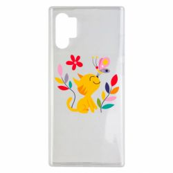 Чехол для Samsung Note 10 Plus Cat, Flowers and Butterfly