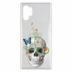Чехол для Samsung Note 10 Plus Skull and green flower