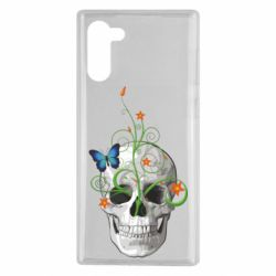 Чехол для Samsung Note 10 Skull and green flower
