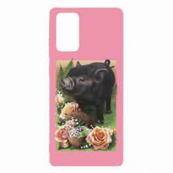 Чехол для Samsung Note 20 Black pig and flowers