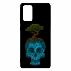 Чохол для Samsung Note 20 Blue skull low poly and tree