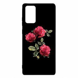 Чехол для Samsung Note 20 Буква Е с розами