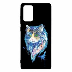 Чехол для Samsung Note 20 Cat in blue shades of watercolor