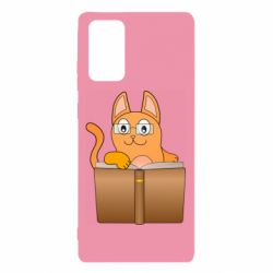 Чехол для Samsung Note 20 Cat in glasses with a book