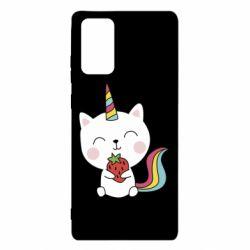 Чохол для Samsung Note 20 Cat unicorn and strawberries