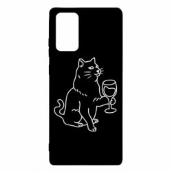 Чохол для Samsung Note 20 Cat with a glass of wine