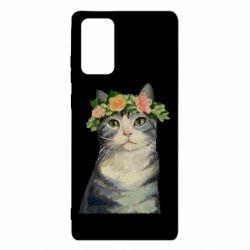 Чехол для Samsung Note 20 Cat with a wreath of art oil