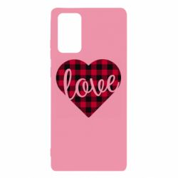 Чехол для Samsung Note 20 Checkered heart with the inscription Love