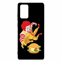 Чехол для Samsung Note 20 Clown in flight with a burger