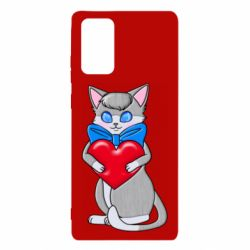 Чехол для Samsung Note 20 Cute kitten with a heart in its paws
