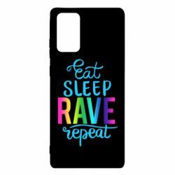 Чохол для Samsung Note 20 Eat, sleep, RAVE, repeat