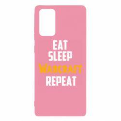 Чехол для Samsung Note 20 Eat sleep Warcraft repeat