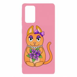 Чехол для Samsung Note 20 Girl cat with flowers