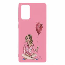Чехол для Samsung Note 20 Girl in pajamas holding an airy heart