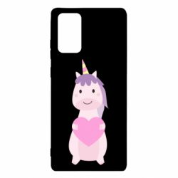 Чехол для Samsung Note 20 Happy unicorn with a heart
