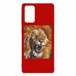 Чехол для Samsung Note 20 Lion roars low poly style