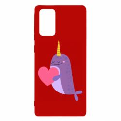 Чехол для Samsung Note 20 Narwhal with a heart