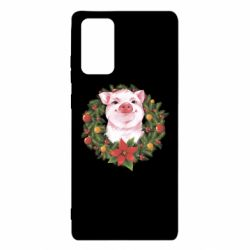 Чохол для Samsung Note 20 Pig with a Christmas wreath