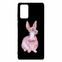 Чохол для Samsung Note 20 Pink bunny with flowers on her head