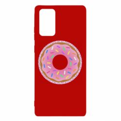 Чохол для Samsung Note 20 Pink donut on a background of patterns