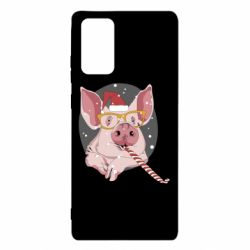 Чохол для Samsung Note 20 Portrait of the pink Pig in a red Santa's cap