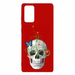 Чехол для Samsung Note 20 Skull and green flower