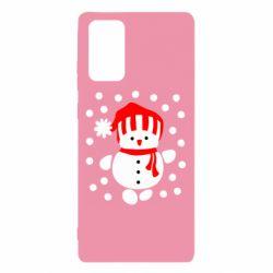 Чехол для Samsung Note 20 Снеговик в шапке