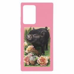 Чехол для Samsung Note 20 Ultra Black pig and flowers