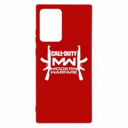 Чехол для Samsung Note 20 Ultra Call of debt MW logo and Kalashnikov