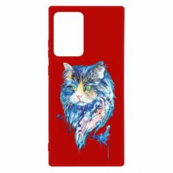 Чехол для Samsung Note 20 Ultra Cat in blue shades of watercolor