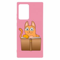 Чехол для Samsung Note 20 Ultra Cat in glasses with a book