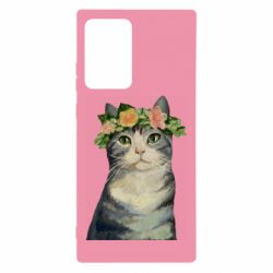 Чехол для Samsung Note 20 Ultra Cat with a wreath of art oil